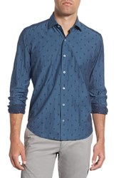 Culturata Cultruata Trim Fit Skull Print Denim Sport Shirt Navy