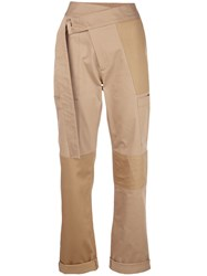 Monse Mid Rise Straight Trousers Brown