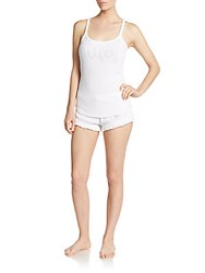 Betsey Johnson Lace Tee And Shorts Set White