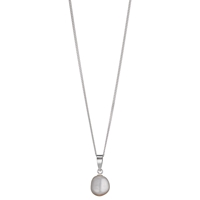 A B Davis Sterling Silver Baroque Cultured Pearl Pendant Necklace White