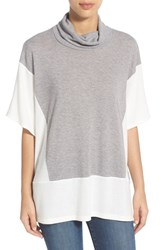 Women's Bobeau Short Sleeve Cowl Neck Sweater Heather Grey Ivory