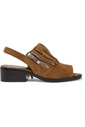 3.1 Phillip Lim Alexa Fringed Suede Slingback Sandals Light Brown