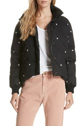 The Great Great. Heart Embroidered Puffer Coat Black W White Heart Emb