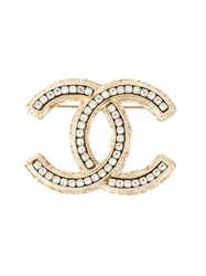 Chanel Vintage Diamond Cc Brooch Metallic