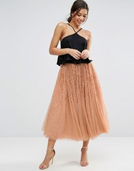 Asos Tulle Prom Skirt With Embellishment Nude Pink