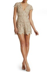 Dress The Population Women's Juliette Plunge Romper Nude Nude