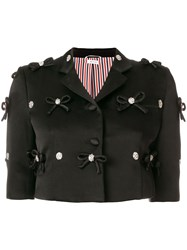 Thom Browne Bow Embroidery Satin Sport Coat Black