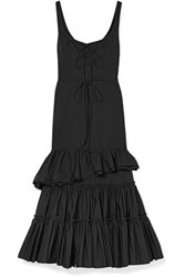 Brock Collection Onilde Tiered Ruffled Cotton Poplin Maxi Dress Black