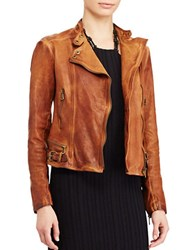 Lauren Ralph Lauren Leather Moto Jacket Dark Walnut