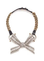 Lanvin 'Diane' Crystal Bow Pendant Curb Chain Necklace Metallic