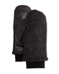 Neiman Marcus Faux Shearling And Leather Mittens Black