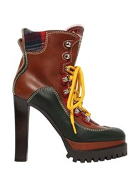 Dsquared 120Mm Lace Up Leather Mountain Boots