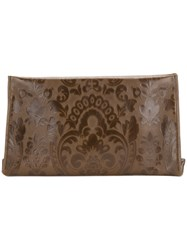 Maison Martin Margiela Floral Embroidered Clutch Bag Women Calf Leather Polyester One Size Green