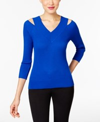 Cable And Gauge Ribbed Knit Cold Shoulder Top Angelfish Blue