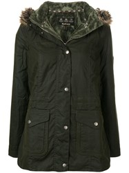 Barbour Fur Hood Trim Padded Jacket Green