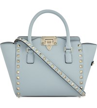 Valentino Rockstud Mini Structured Leather Tote Sky Sorbet