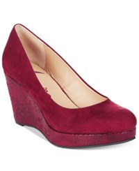 American Rag Kenna Platform Wedge Pumps Only At Macy's Women's Shoes Wine Snake
