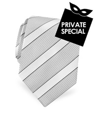Forzieri Gold Line Silver And Ivory Bands Woven Silk Tie