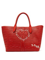 Anya Hindmarch The Neeson Large Woven Leather Tote Bag Red