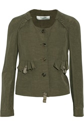 Valentino Flax And Silk Blend Jacket Green