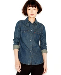 Levi's Long Sleeve Denim Western Shirt Dark Stone Wash