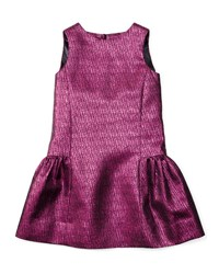 Milly Minis Sleeveless Metallic Jacquard Party Dress Fuchsia Pink