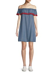 Saks Fifth Avenue Red Lla Off The Shoulder Shift Dress Blue
