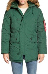 Men's Alpha Industries 'Altitude' Water Resistant Oxford Nylon Parka With Faux Fur Trim Forest Green