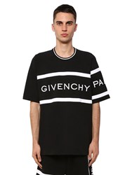 Givenchy Logo Embroidered Cotton T Shirt Black