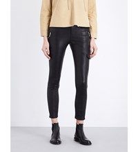 Frame Leather Moto Skinny High Rise Jeans Noir