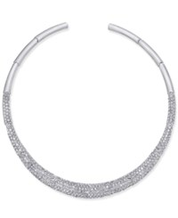 Joan Boyce Silver Tone Pave Collar Necklace White