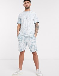 Native Youth Co Ord Oversized Short In Teal Tie Dye Wash Blue