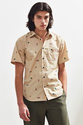 Chums Happy Camper Short Sleeve Button Down Shirt Taupe