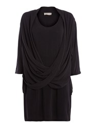Label Lab Washed Twist Front Shirt Dress Charcoal