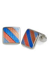 Men's David Donahue Enamel Cuff Links Orange Silver
