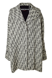Rochas Wool Blend Oversized Coat In Black And White