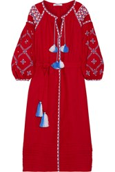 March11 Embroidered Linen Maxi Dress Claret