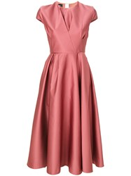 Rochas Pleated Detail Flared Dress Pink And Purple