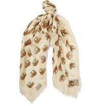 Gucci Printed Modal And Silk Blend Scarf Ivory