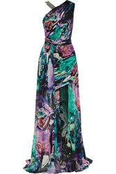 Matthew Williamson Bead Embellished Draped Printed Silk Chiffon Maxi Dress Multi