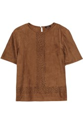Raoul Ambra Laser Cut Suede Top Brown