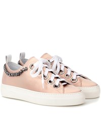 N 21 Embellished Leather Sneakers Pink