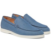 Loro Piana Summer Walk Linen Loafers Blue
