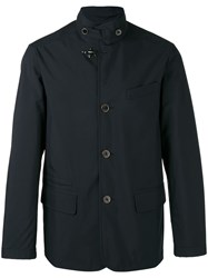 Fay Buttoned High Collar Jacket Blue