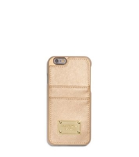 Michael Kors Metallic Saffiano Leather Pocket Case For Iphone 6 Pale Gold