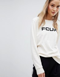 French Connection Fcuk Print Sweatshirt Classic Crm Blk Font Cream