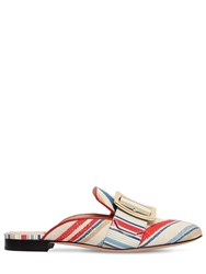 Bally 10Mm Janesse 30 Cotton Canvas Mules White Multi