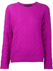Ralph Lauren Black Cable Knit Sweater Pink And Purple