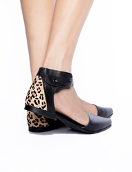 Pixie Market Leopard Leather Pointy Flats