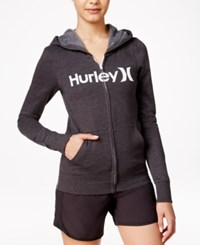 Hurley Juniors' One And Only Zipper Front Logo Hoodie Gray